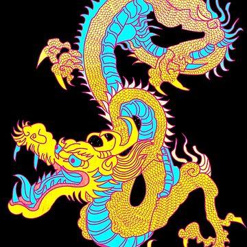 Neon Yellow Chinese Dragon by Demonaru