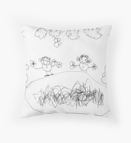 People with Butterflies & Fish Pond Throw Pillow