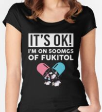 It's Ok I'm On 500mgs Of Fukitol Funny Unicorn T-shirt Women's Fitted Scoop T-Shirt