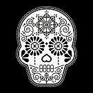 Día de Muertos Calavera • Mexikanischer Zuckerschädel - Weiß auf schwarzer Palette von Cat Coquillette
