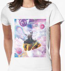 Space Cat Riding Turtle Unicorn - Taco & Donut Women's Fitted T-Shirt
