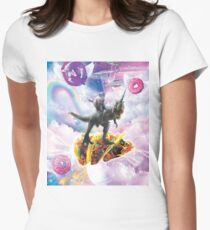 Space Cat Riding Dinosaur Unicorn - Taco & Donut Women's Fitted T-Shirt