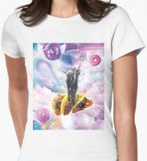 Space Cat Riding Alpaca Unicorn - Taco & Donut Women's Fitted T-Shirt