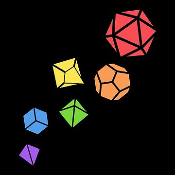 Polyhedral DnD Dice Set Rainbow Tabletop RPG by pixeptional