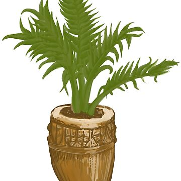 Potted Palm Plant in Ceramic Pot by mindovermattie