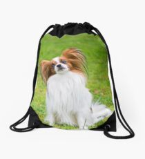 Portrait of a papillon purebreed dog sitting on the grass Drawstring Bag