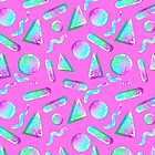 80s Bubblegum Pink Glitter Shapes  by melisssne