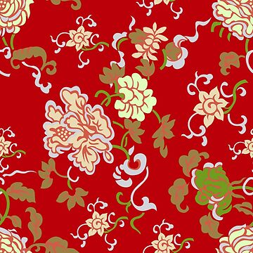 Gorgeous Red Color Chinese Seamless Floral Print Pattern by ernstc
