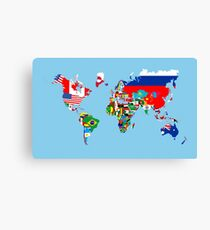 world flags map Canvas Print