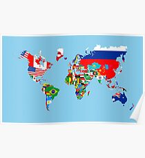 world flags map Poster