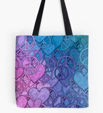 Peace and Love Collage Tote Bag