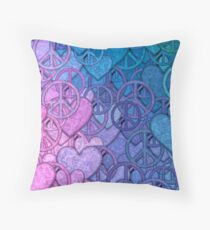 Peace and Love Collage Throw Pillow