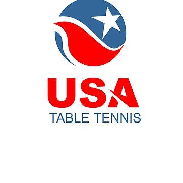 USA Table Tennis Design American Flag Ping Pong Design by kirillpanteleev