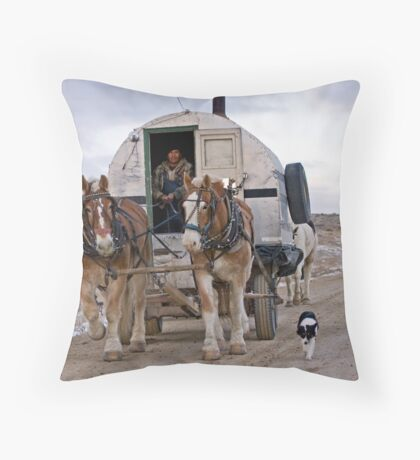 Sheep Wagon, Red Desert, Wy Throw Pillow