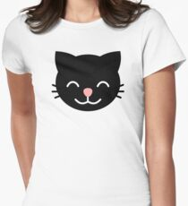 Black smiling Cat graphic Women's Fitted T-Shirt