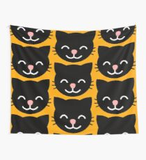 Black smiling Cat graphic Wall Tapestry