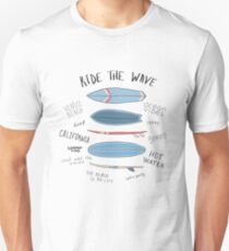 Surf boards with motivational quotes about surfing. Unisex T-Shirt