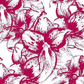 Pattern with flowers of amaryllis by Shoshina