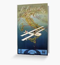 Vintage 1920s island plane shuttle Italian travel Greeting Card