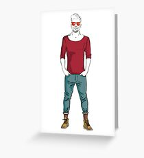 man in fashion clothes Greeting Card