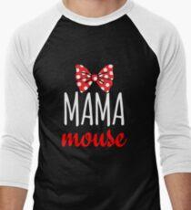 Mama Mouse Polka Dot Bow Men's Baseball ¾ T-Shirt