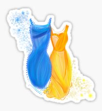 Abstract fashion in blue and orange Sticker