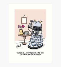 Female Doctor Who Cartoon Art Print