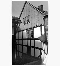 Half-timbered house in Stolberg / Harz in black and white Poster