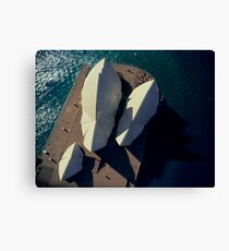 Sydney Opera House from helicopter, aerial, directly above Canvas Print
