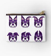 Boston Terrier Various Ears Purple Heads Studio Pouch