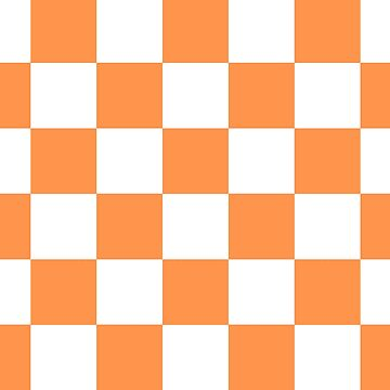 Orange And White Checkered Print by KCavender