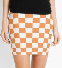 Orange And White Checkered Print Mini Skirt