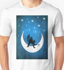 Cat on a moon chasing a mouse. Unisex T-Shirt