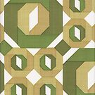 Vintage Wallpaper Pattern Green Tan Octagon Geometric by vintagegoodness