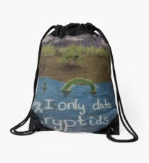 Sorry I only date cryptids Drawstring Bag
