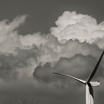 Wind turbine and clouds black and white by franceslewis