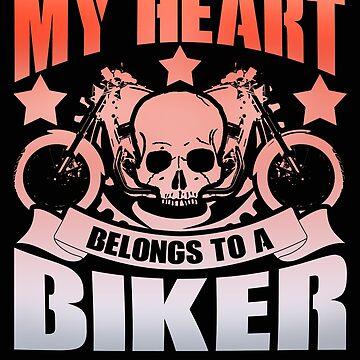 My Heart Belongs To A Biker Graphic Design by vtv14