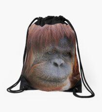 Sumatran Orangutan portrait ~ square frame Drawstring Bag