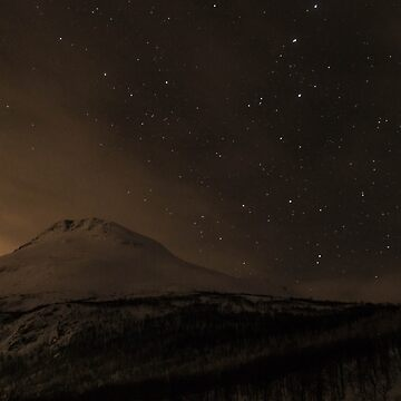 Night sky with stars over a mountain by franceslewis