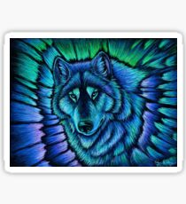 Wolf Aurora Blue Colorful Fantasy Spirit Sticker