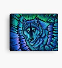 Wolf Aurora Blue Colorful Fantasy Spirit Canvas Print