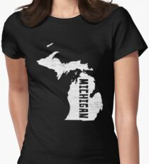 Michigan Home Vintage Distressed Map Silhouette Women's Fitted T-Shirt
