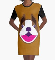 Happy Puppy Face Brownie Graphic T-Shirt Dress