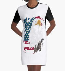 eagle and american flag Graphic T-Shirt Dress