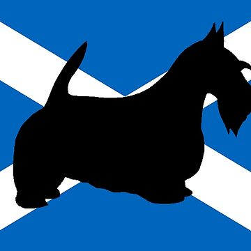 scottish terrier silhouette on flag by marasdaughter