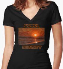 PIXEL SUNSET sunset Women's Fitted V-Neck T-Shirt