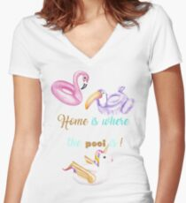 Home is where the pool is! T-shirt col V femme