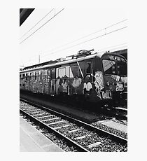 Black and white graffiti train Photographic Print
