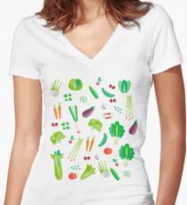 Long live the vegetables! Women's Fitted V-Neck T-Shirt
