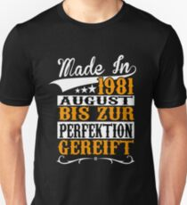 BIRTHDAY - AUGUST - 1981 - BORN - YEAR OF BIRTH - YELLOW Unisex T-Shirt